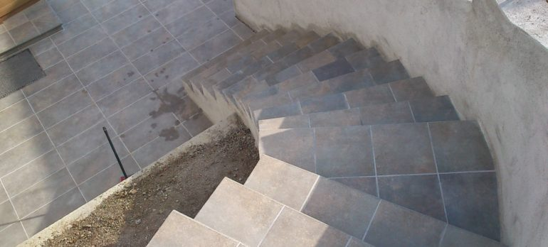 Construction process of an outdoor staircase